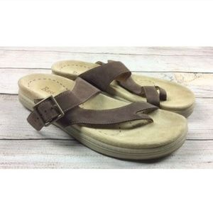 Bass Monaco Leather Footbed Sandals Toe Flip Flops